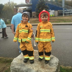 Hal and Jack dressed as Firemen