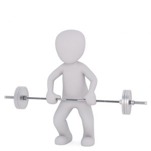 cartoon holding barbell